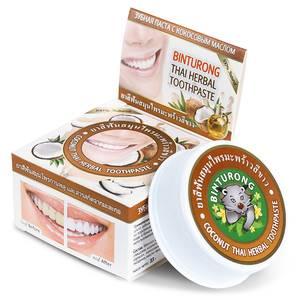 Зубная паста с кокосовым маслом Binturong Coconut Thai Herbal, 33 гр